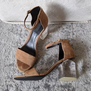 Alexander Wang Suede Sandals with Clear Heel